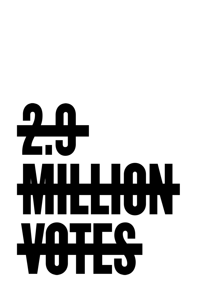2.9 Million Votes protest poster